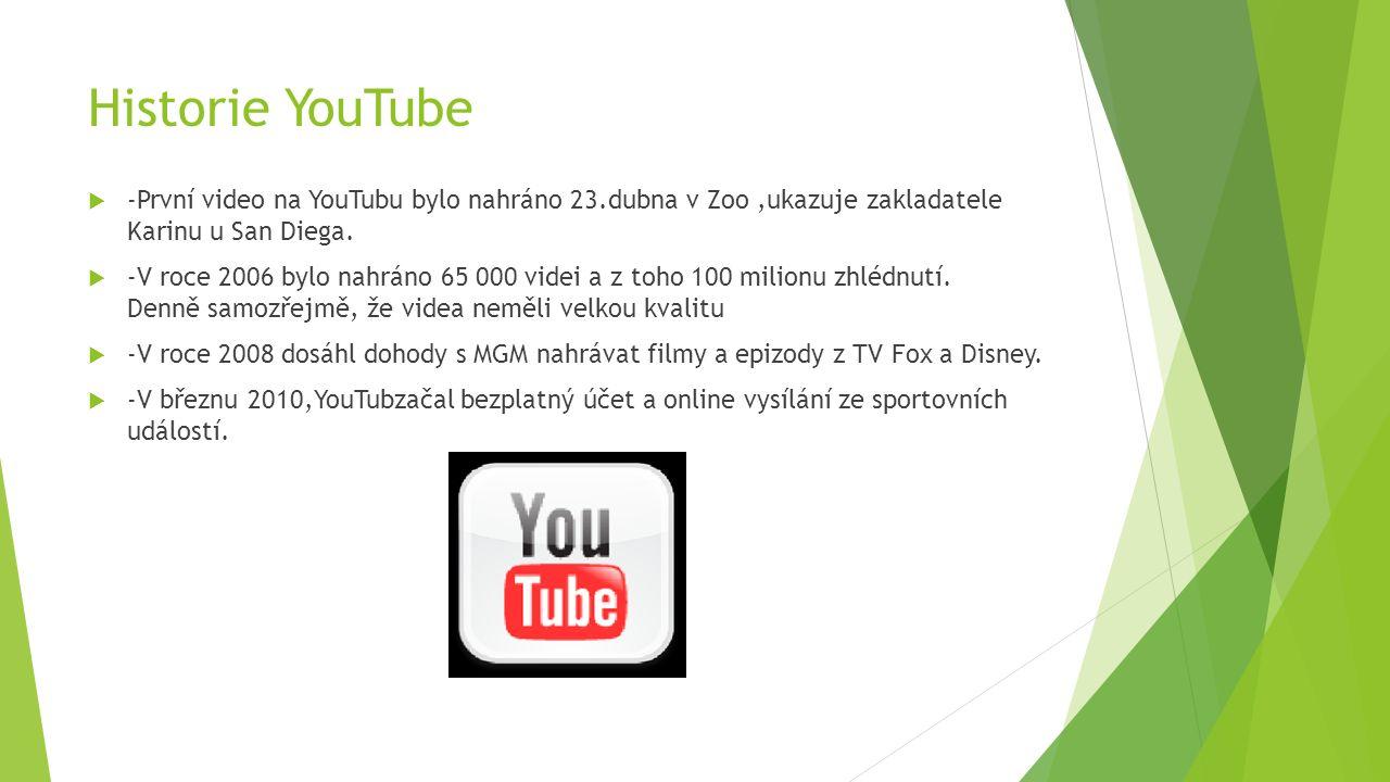 Historie YouTube  -První video na YouTubu bylo nahráno 23.dubna v Zoo,ukazuje zakladatele Karinu u San Diega.  -V roce 2006 bylo nahráno 65 000 vide