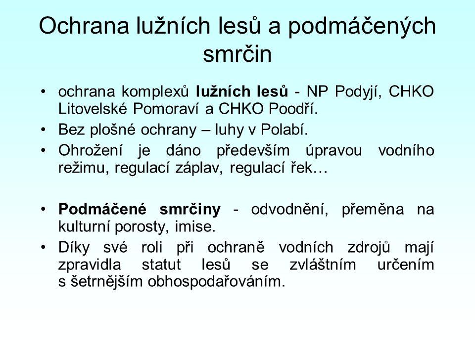 Ochrana lužních lesů a podmáčených smrčin ochrana komplexů lužních lesů - NP Podyjí, CHKO Litovelské Pomoraví a CHKO Poodří.