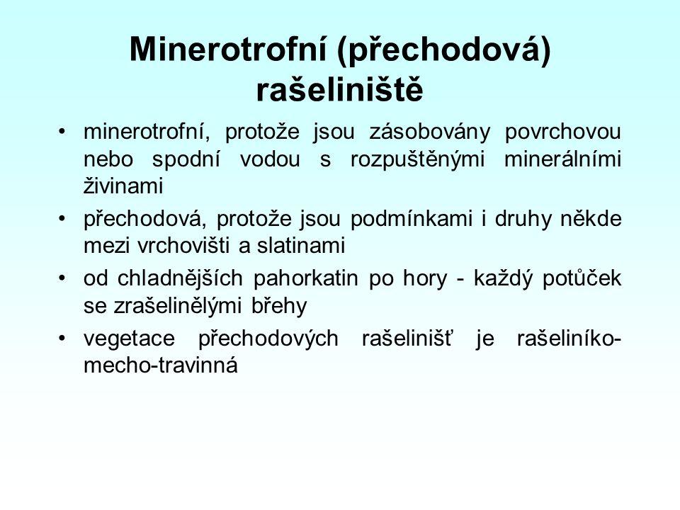 Minerotrofní (přechodová) rašeliniště minerotrofní, protože jsou zásobovány povrchovou nebo spodní vodou s rozpuštěnými minerálními živinami přechodov