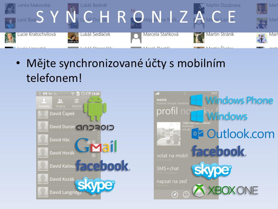 Mějte synchronizované účty s mobilním telefonem! SYNCHRONIZACE