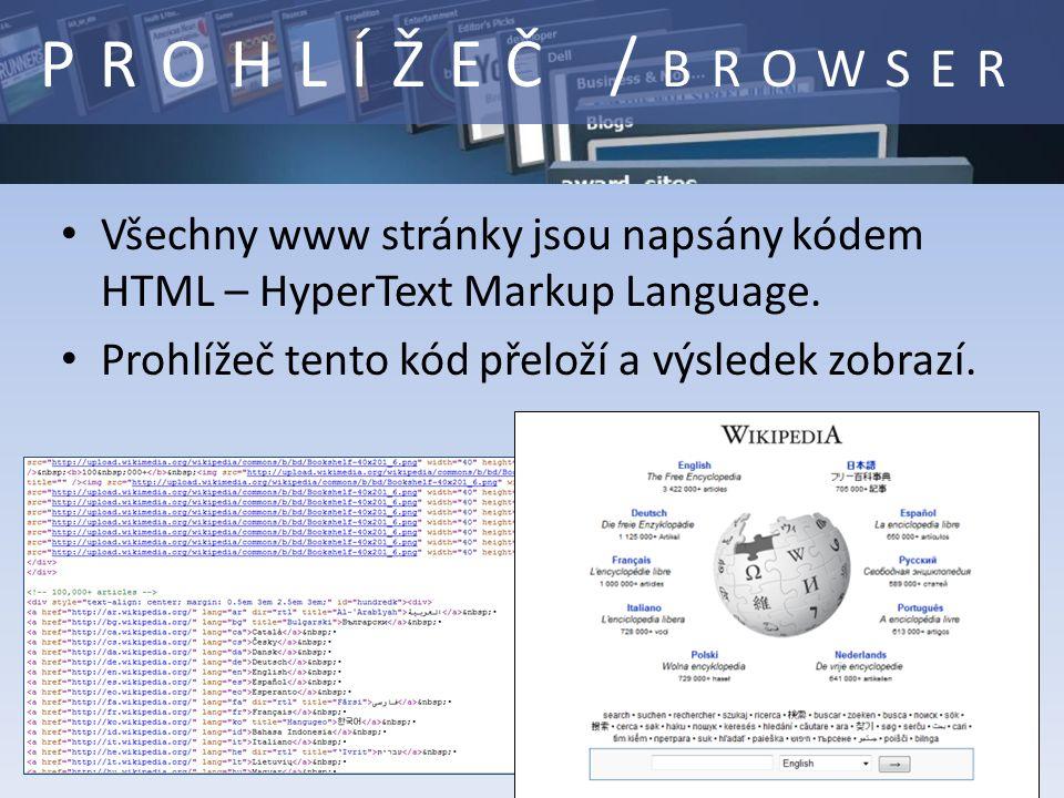Všechny www stránky jsou napsány kódem HTML – HyperText Markup Language.
