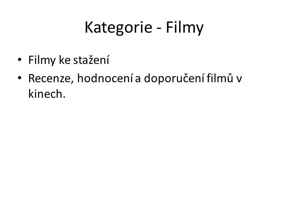 Fungování kategorie -Filmy V této kategorii najdete vždy 5 filmů od každé kategorie Novinky, Akční, Komedie, Fantasy, XXX, atd.