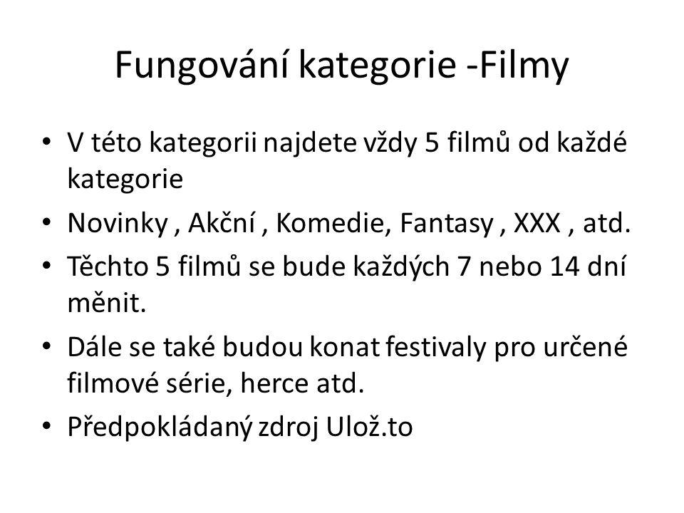 Fungování kategorie -Filmy V této kategorii najdete vždy 5 filmů od každé kategorie Novinky, Akční, Komedie, Fantasy, XXX, atd. Těchto 5 filmů se bude