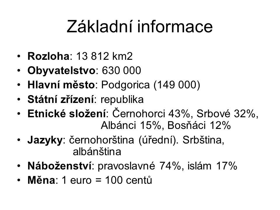Základní informace Rozloha: 13 812 km2 Obyvatelstvo: 630 000 Hlavní město: Podgorica (149 000) Státní zřízení: republika Etnické složení: Černohorci 43%, Srbové 32%, Albánci 15%, Bosňáci 12% Jazyky: černohorština (úřední).