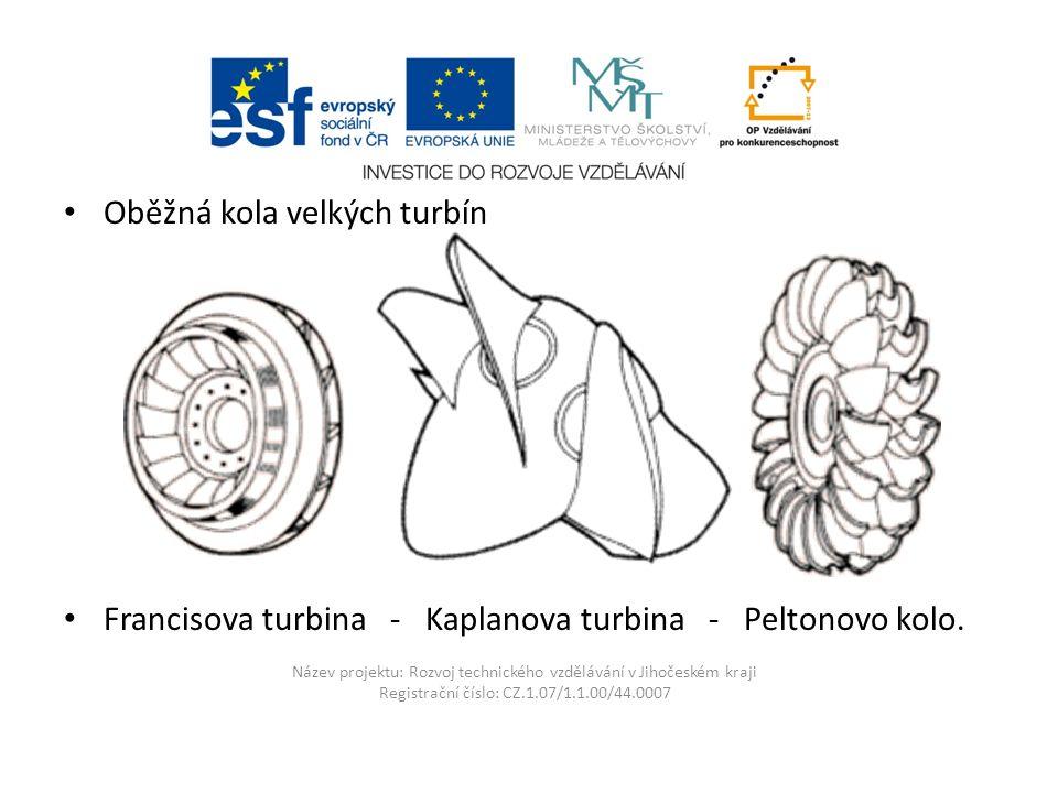 Název projektu: Rozvoj technického vzdělávání v Jihočeském kraji Registrační číslo: CZ.1.07/1.1.00/44.0007 Oběžná kola velkých turbín Francisova turbi