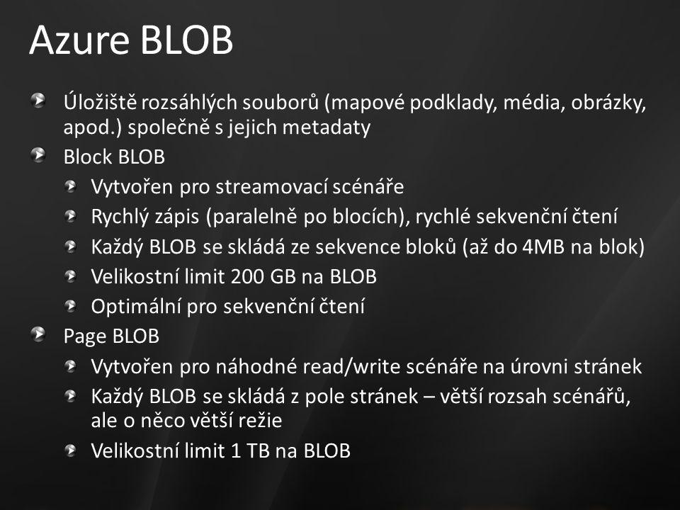 Azure BLOB Úložiště rozsáhlých souborů (mapové podklady, média, obrázky, apod.) společně s jejich metadaty Block BLOB Vytvořen pro streamovací scénáře Rychlý zápis (paralelně po blocích), rychlé sekvenční čtení Každý BLOB se skládá ze sekvence bloků (až do 4MB na blok) Velikostní limit 200 GB na BLOB Optimální pro sekvenční čtení Page BLOB Vytvořen pro náhodné read/write scénáře na úrovni stránek Každý BLOB se skládá z pole stránek – větší rozsah scénářů, ale o něco větší režie Velikostní limit 1 TB na BLOB