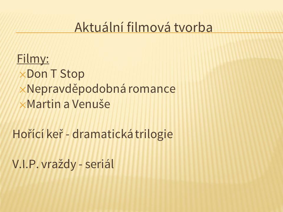 Aktuální filmová tvorba Filmy: ✕ Don T Stop ✕ Nepravděpodobná romance ✕ Martin a Venuše Hořící keř - dramatická trilogie V.I.P.