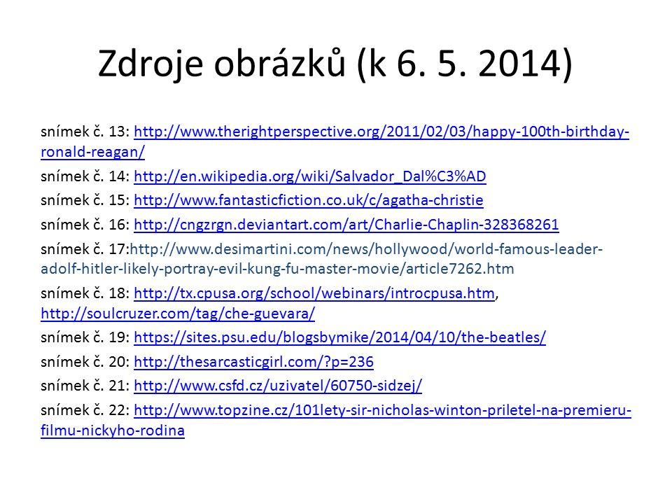 Zdroje obrázků (k 6.5. 2014) snímek č.