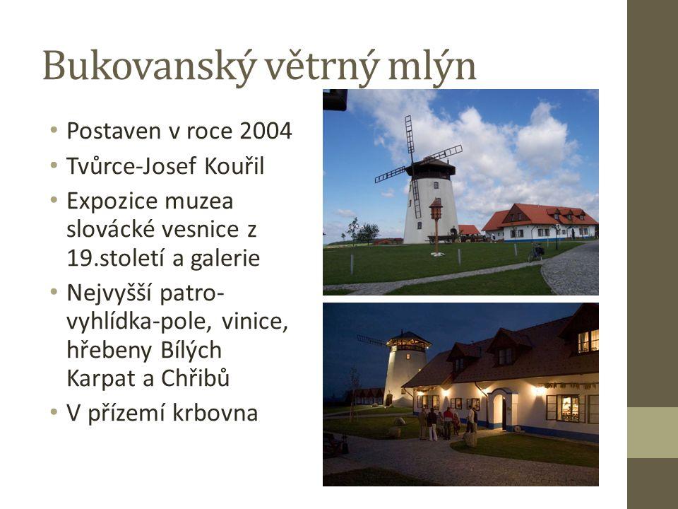 Postaven v roce 2004 Tvůrce-Josef Kouřil Expozice muzea slovácké vesnice z 19.století a galerie Nejvyšší patro- vyhlídka-pole, vinice, hřebeny Bílých