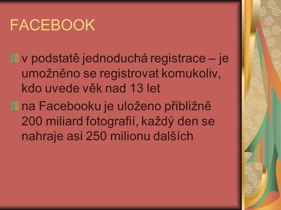 FACEBOOK v podstatě jednoduchá registrace – je umožněno se registrovat komukoliv, kdo uvede věk nad 13 let na Facebooku je uloženo přibližně 200 miliard fotografií, každý den se nahraje asi 250 milionu dalších