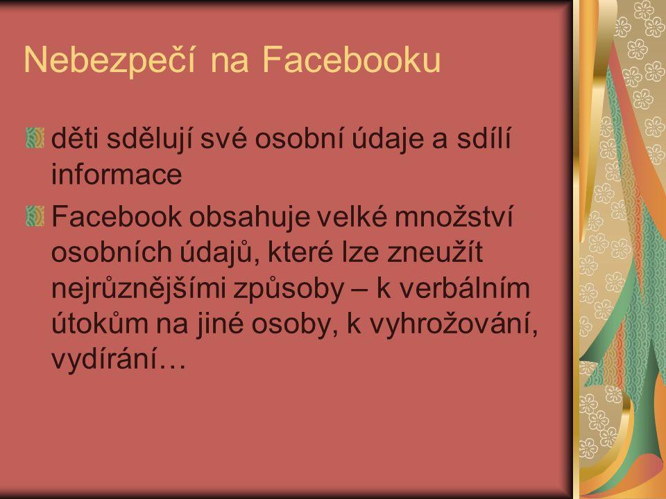 Nebezpečí na Facebooku děti sdělují své osobní údaje a sdílí informace Facebook obsahuje velké množství osobních údajů, které lze zneužít nejrůznějšími způsoby – k verbálním útokům na jiné osoby, k vyhrožování, vydírání…