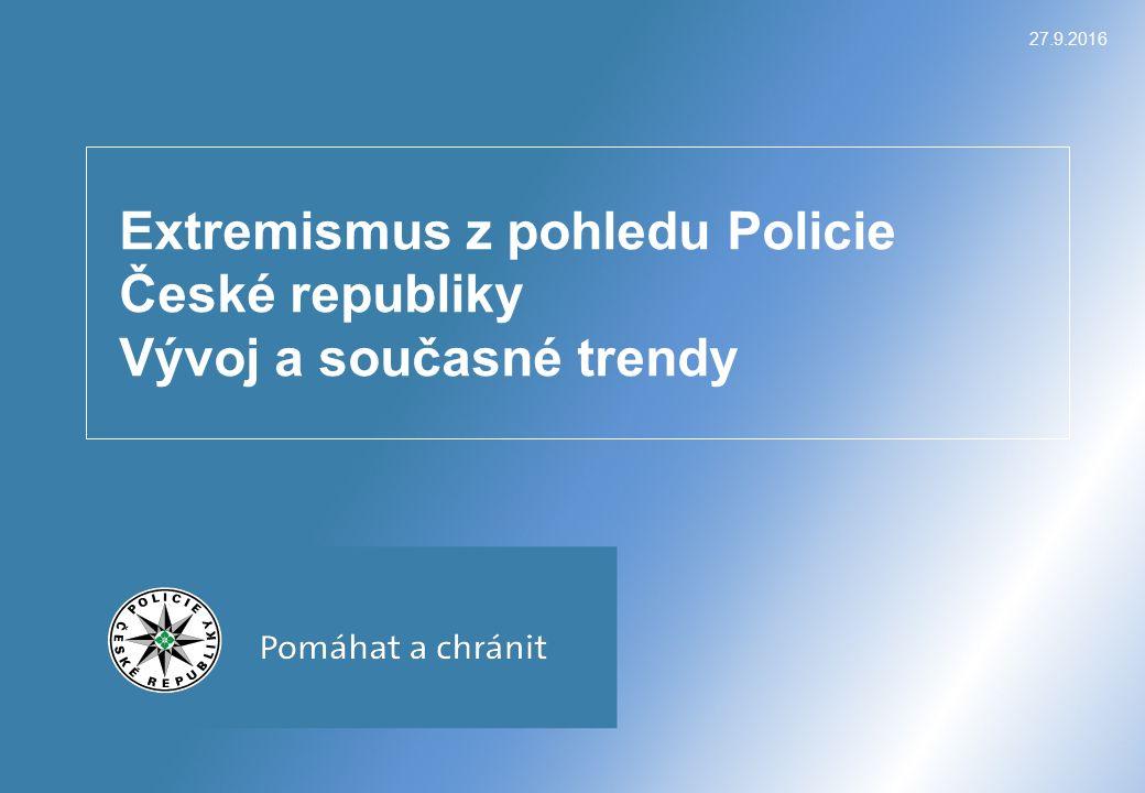 27.9.2016 Extremismus z pohledu Policie České republiky Vývoj a současné trendy