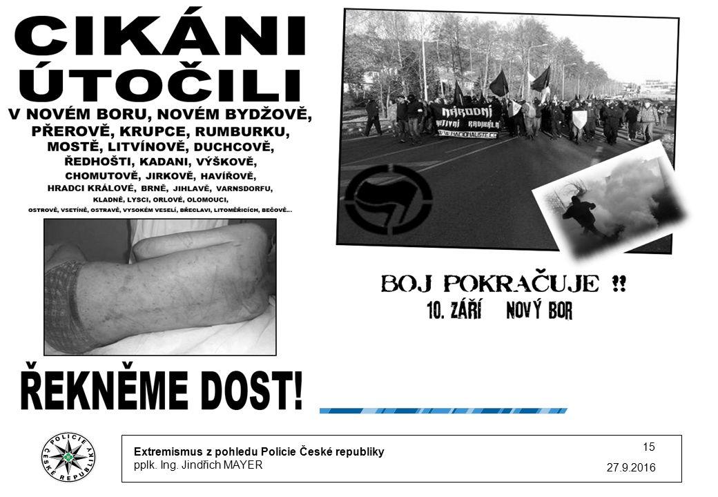Extremismus z pohledu Policie České republiky pplk. Ing. Jindřich MAYER 27.9.2016 15