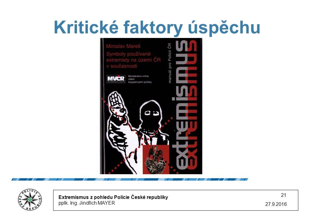 27.9.2016 21 Kritické faktory úspěchu Extremismus z pohledu Policie České republiky pplk.