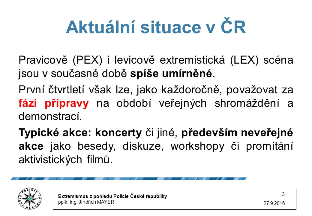 27.9.2016 3 Aktuální situace v ČR Extremismus z pohledu Policie České republiky pplk.