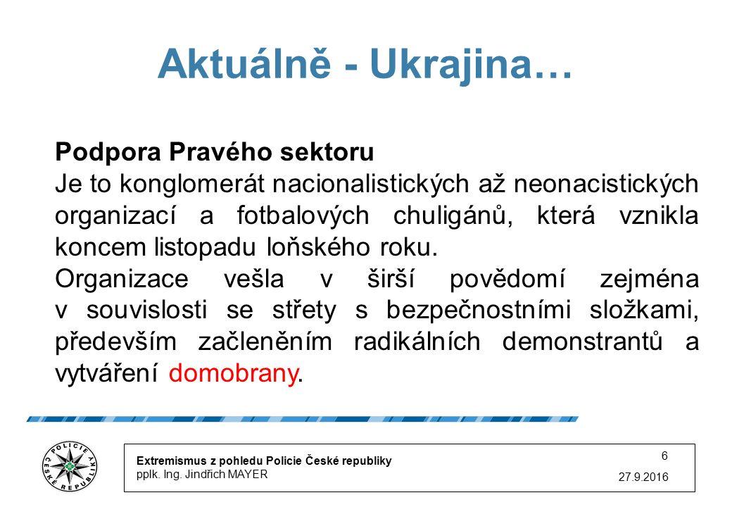 27.9.2016 6 Aktuálně - Ukrajina… Extremismus z pohledu Policie České republiky pplk.