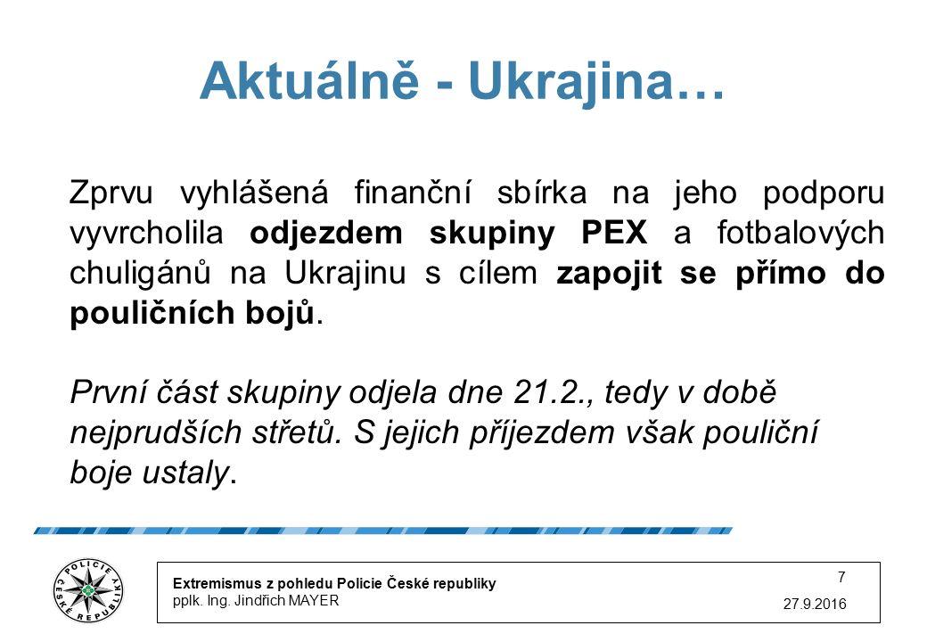 27.9.2016 7 Aktuálně - Ukrajina… Extremismus z pohledu Policie České republiky pplk.