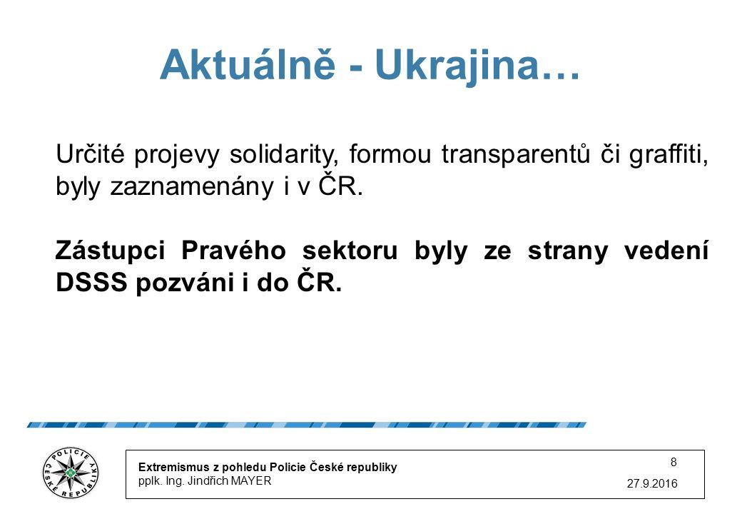 27.9.2016 8 Aktuálně - Ukrajina… Extremismus z pohledu Policie České republiky pplk.