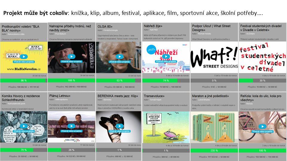 Projekt může být cokoliv: knížka, klip, album, festival, aplikace, film, sportovní akce, školní potřeby….