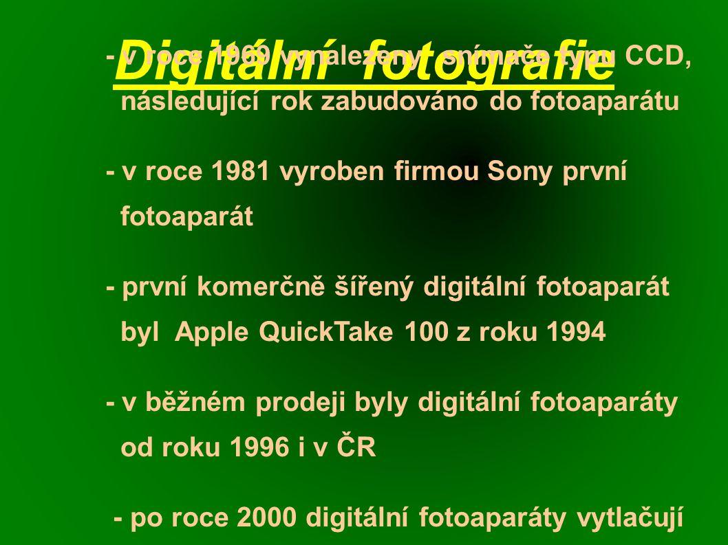Digitální fotografie - v roce 1969 vynalezeny snímače typu CCD, následující rok zabudováno do fotoaparátu - v roce 1981 vyroben firmou Sony první fotoaparát - první komerčně šířený digitální fotoaparát byl Apple QuickTake 100 z roku 1994 - v běžném prodeji byly digitální fotoaparáty od roku 1996 i v ČR - po roce 2000 digitální fotoaparáty vytlačují kinofilmové