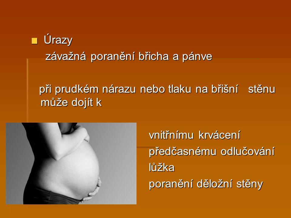  Psychosociální faktory  svobodná matka  špatná sociální situace  příliš mladá matka – mladší než 17let  stres, konflikty