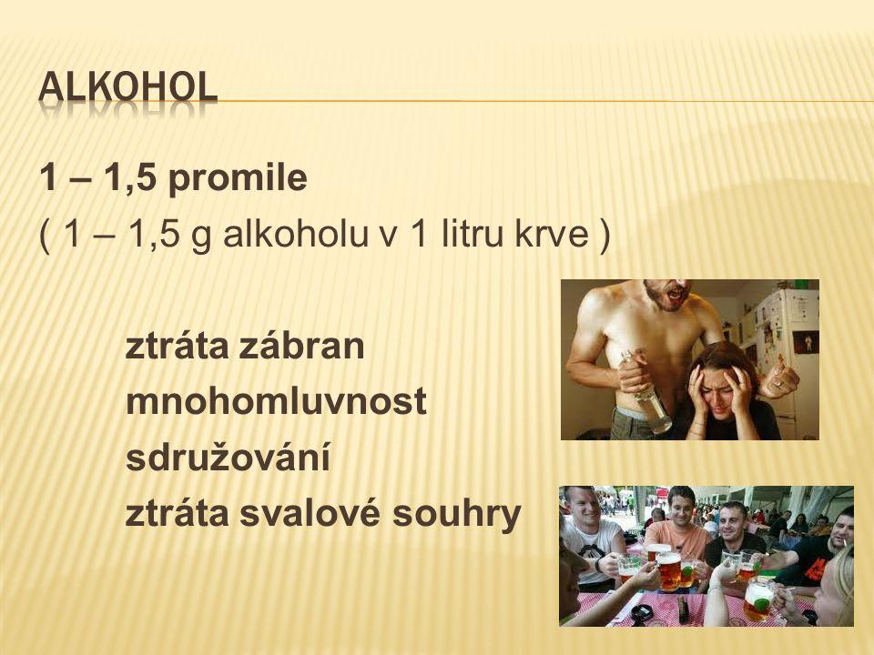 1 – 1,5 promile ( 1 – 1,5 g alkoholu v 1 litru krve ) ztráta zábran mnohomluvnost sdružování ztráta svalové souhry