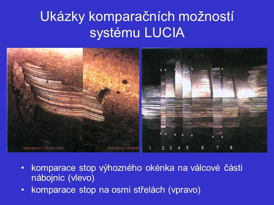 Ukázky komparačních možností systému LUCIA komparace stop výhozného okénka na válcové části nábojnic (vlevo) komparace stop na osmi střelách (vpravo)