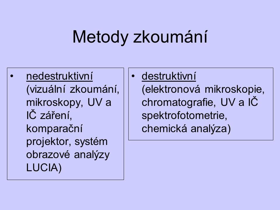 Metody zkoumání nedestruktivní (vizuální zkoumání, mikroskopy, UV a IČ záření, komparační projektor, systém obrazové analýzy LUCIA) destruktivní (elektronová mikroskopie, chromatografie, UV a IČ spektrofotometrie, chemická analýza)