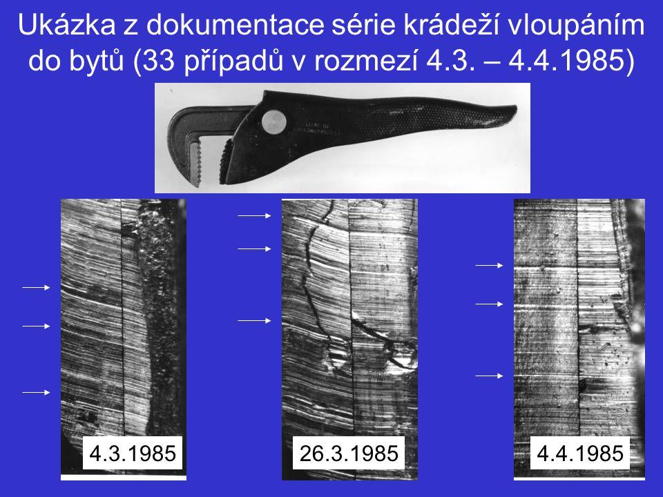 Ukázka z dokumentace série krádeží vloupáním do bytů (33 případů v rozmezí 4.3. – 4.4.1985) 4.3.198526.3.19854.4.1985