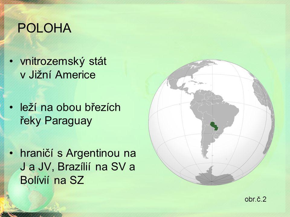 POLOHA vnitrozemský stát v Jižní Americe leží na obou březích řeky Paraguay hraničí s Argentinou na J a JV, Brazílií na SV a Bolívií na SZ obr.č.2