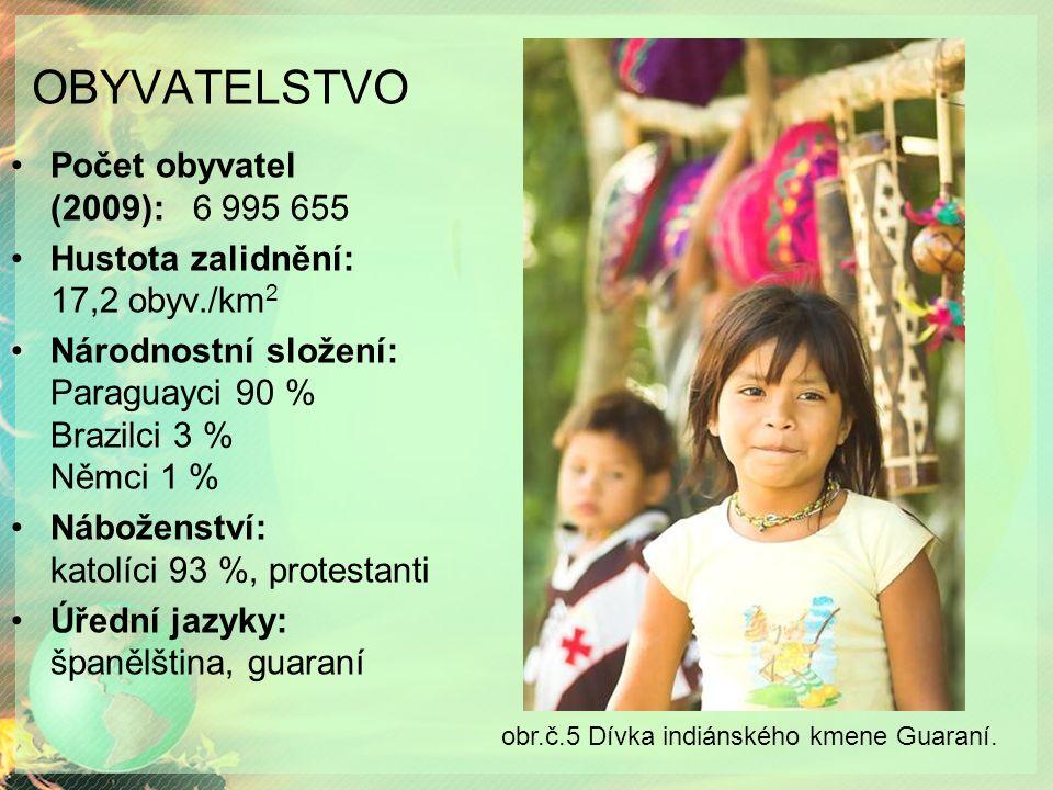 OBYVATELSTVO Počet obyvatel (2009): 6 995 655 Hustota zalidnění: 17,2 obyv./km 2 Národnostní složení: Paraguayci 90 % Brazilci 3 % Němci 1 % Náboženství: katolíci 93 %, protestanti Úřední jazyky: španělština, guaraní obr.č.5 Dívka indiánského kmene Guaraní.