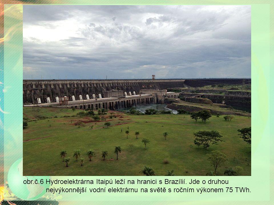 obr.č.6 Hydroelektrárna Itaipú leží na hranici s Brazílií.