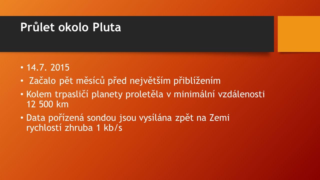 Průlet okolo Pluta 14.7. 2015 Začalo pět měsíců před největším přiblížením Kolem trpasličí planety proletěla v minimální vzdálenosti 12 500 km Data po