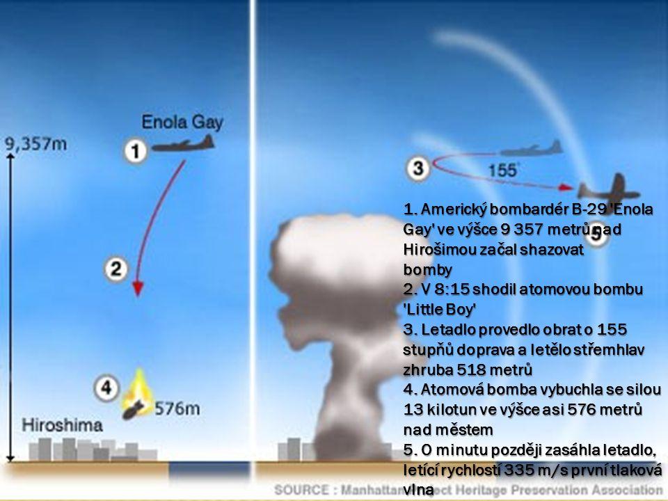 1. Americký bombardér B-29 Enola Gay ve výšce 9 357 metrů nad Hirošimou začal shazovat bomby 2.