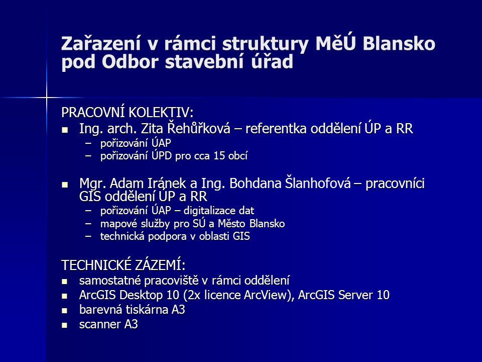 Zařazení v rámci struktury MěÚ Blansko pod Odbor stavební úřad PRACOVNÍ KOLEKTIV: Ing.