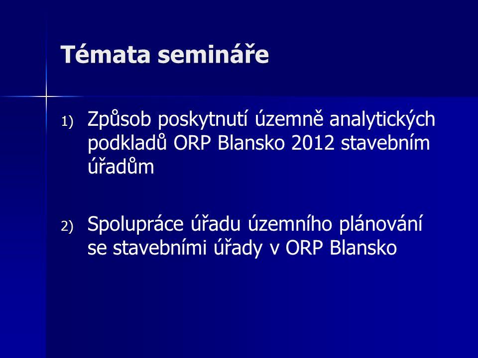 Témata semináře 1) 1) Způsob poskytnutí územně analytických podkladů ORP Blansko 2012 stavebním úřadům 2) 2) Spolupráce úřadu územního plánování se stavebními úřady v ORP Blansko