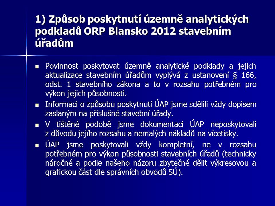 1) Způsob poskytnutí územně analytických podkladů ORP Blansko 2012 stavebním úřadům Povinnost poskytovat územně analytické podklady a jejich aktualizace stavebním úřadům vyplývá z ustanovení § 166, odst.