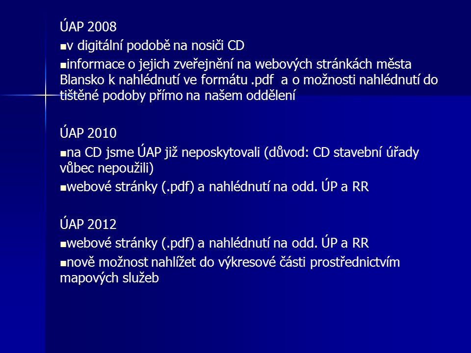 ÚAP 2008 v digitální podobě na nosiči CD informace o jejich zveřejnění na webových stránkách města Blansko k nahlédnutí ve formátu.pdf a o možnosti nahlédnutí do tištěné podoby přímo na našem oddělení ÚAP 2010 na CD jsme ÚAP již neposkytovali (důvod: CD stavební úřady vůbec nepoužili) webové stránky (.pdf) a nahlédnutí na odd.