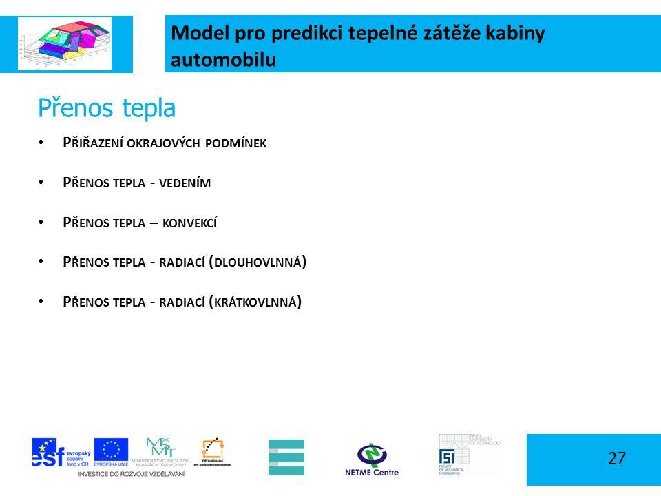 Model pro predikci tepelné zátěže kabiny automobilu 27 Přenos tepla P ŘIŘAZENÍ OKRAJOVÝCH PODMÍNEK P ŘENOS TEPLA - VEDENÍM P ŘENOS TEPLA – KONVEKCÍ P ŘENOS TEPLA - RADIACÍ ( DLOUHOVLNNÁ ) P ŘENOS TEPLA - RADIACÍ ( KRÁTKOVLNNÁ )