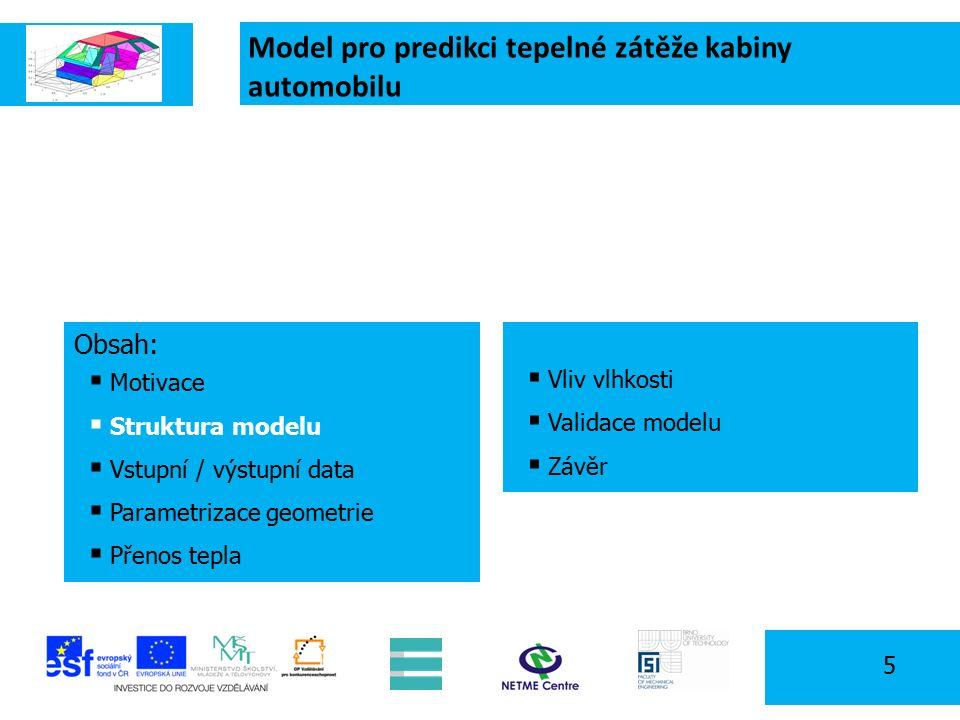 Model pro predikci tepelné zátěže kabiny automobilu 5 Obsah:  Motivace  Struktura modelu  Vstupní / výstupní data  Parametrizace geometrie  Přenos tepla  Vliv vlhkosti  Validace modelu  Závěr