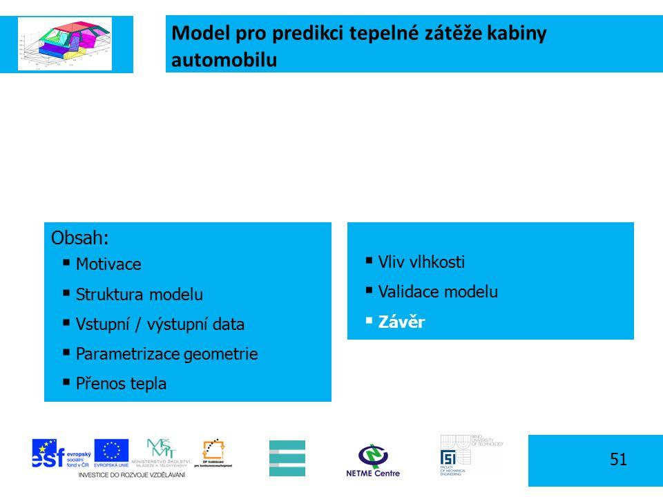 Model pro predikci tepelné zátěže kabiny automobilu 51 Obsah:  Motivace  Struktura modelu  Vstupní / výstupní data  Parametrizace geometrie  Přenos tepla  Vliv vlhkosti  Validace modelu  Závěr