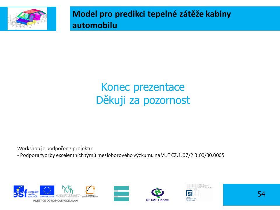 Model pro predikci tepelné zátěže kabiny automobilu 54 Konec prezentace Děkuji za pozornost Workshop je podpořen z projektu: - Podpora tvorby excelentních týmů mezioborového výzkumu na VUT CZ.1.07/2.3.00/30.0005