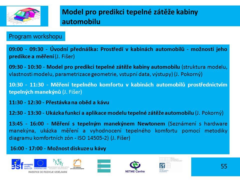 Model pro predikci tepelné zátěže kabiny automobilu 55 Program workshopu 09:00 - 09:30 - Úvodní přednáška: Prostředí v kabinách automobilů - možnosti jeho predikce a měření (J.