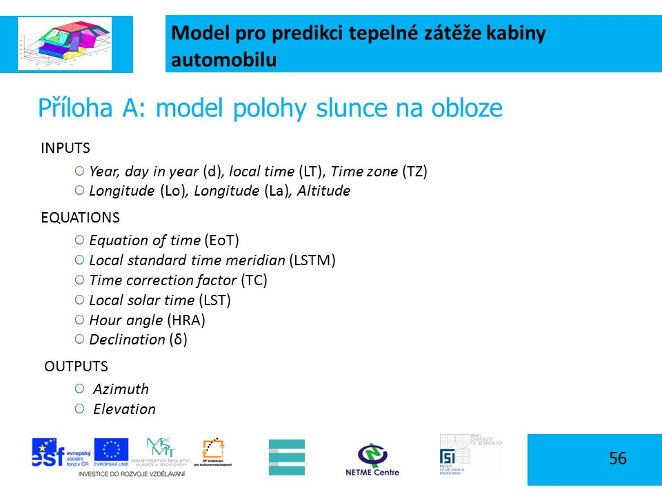 Model pro predikci tepelné zátěže kabiny automobilu 56 Příloha A: model polohy slunce na obloze INPUTS Year, day in year (d), local time (LT), Time zone (TZ) Longitude (Lo), Longitude (La), Altitude EQUATIONS Equation of time (EoT) Local standard time meridian (LSTM) Time correction factor (TC) Local solar time (LST) Hour angle (HRA) Declination (δ) OUTPUTS Azimuth Elevation