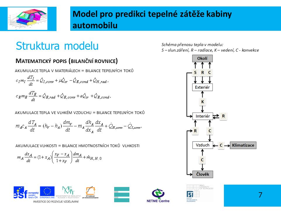 Model pro predikci tepelné zátěže kabiny automobilu 7 Schéma přenosu tepla v modelu: S – slun.záření, R – radiace, K – vedení, C - konvekce M ATEMATICKÝ POPIS ( BILANČNÍ ROVNICE ) AKUMULACE TEPLA V MATERIÁLECH = BILANCE TEPELNÝCH TOKŮ AKUMULACE VLHKOSTI = BILANCE HMOTNOSTNÍCH TOKŮ VLHKOSTI Struktura modelu AKUMULACE TEPLA VE VLHKÉM VZDUCHU = BILANCE TEPELNÝCH TOKŮ