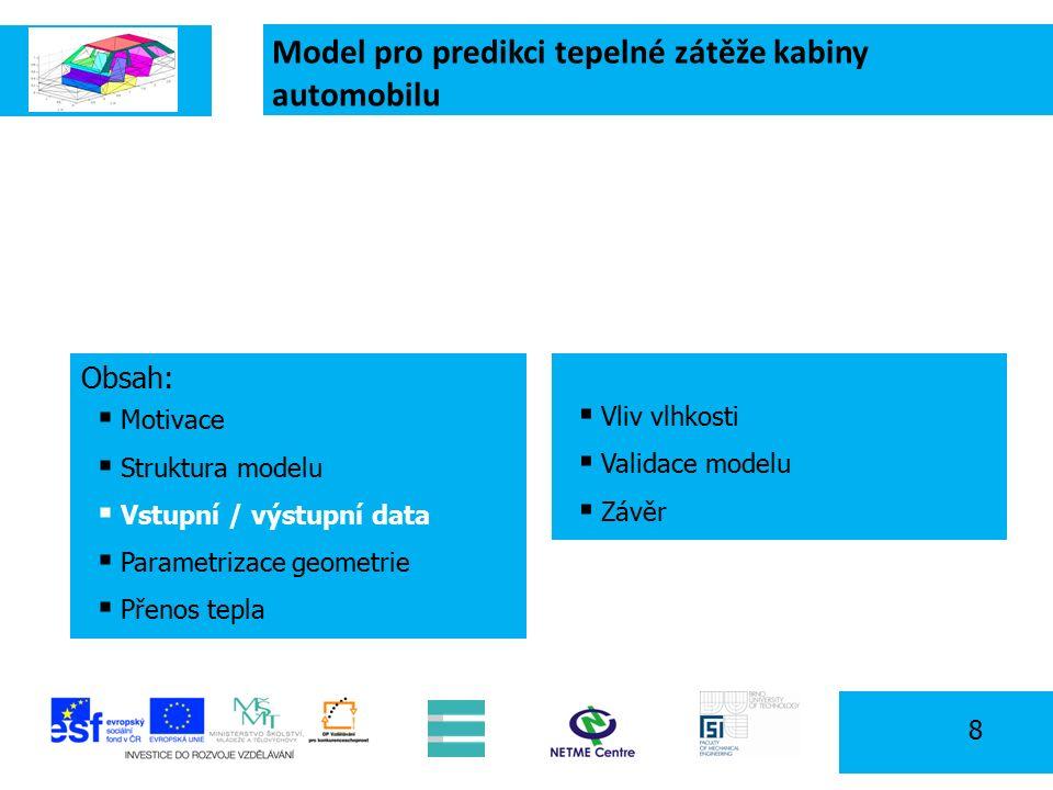 Model pro predikci tepelné zátěže kabiny automobilu 8 Obsah:  Motivace  Struktura modelu  Vstupní / výstupní data  Parametrizace geometrie  Přenos tepla  Vliv vlhkosti  Validace modelu  Závěr