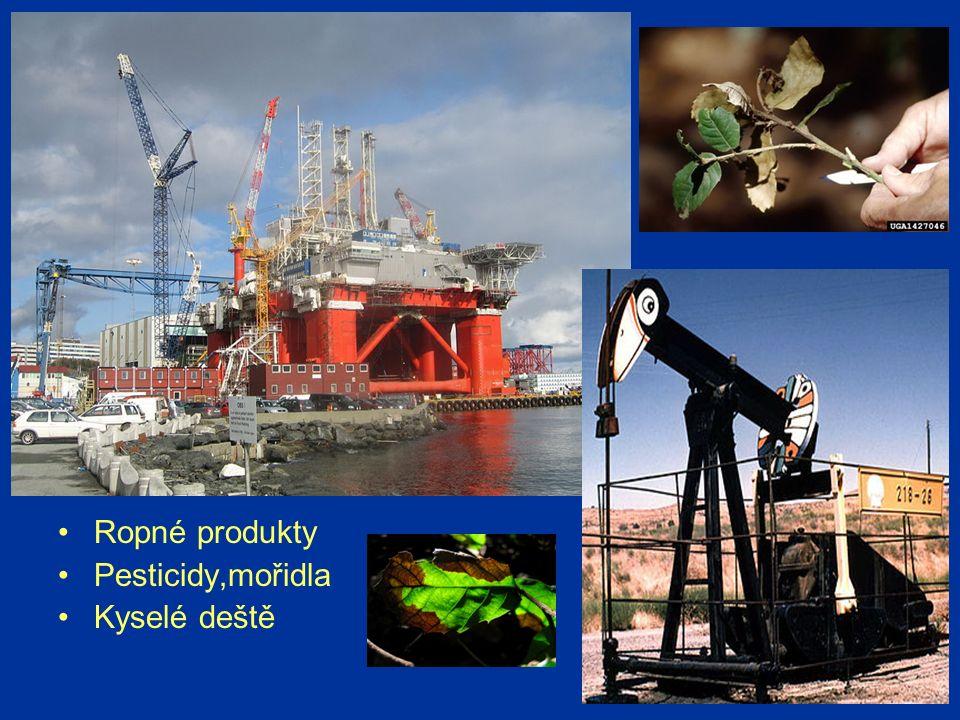 Ropné produkty Pesticidy,mořidla Kyselé deště