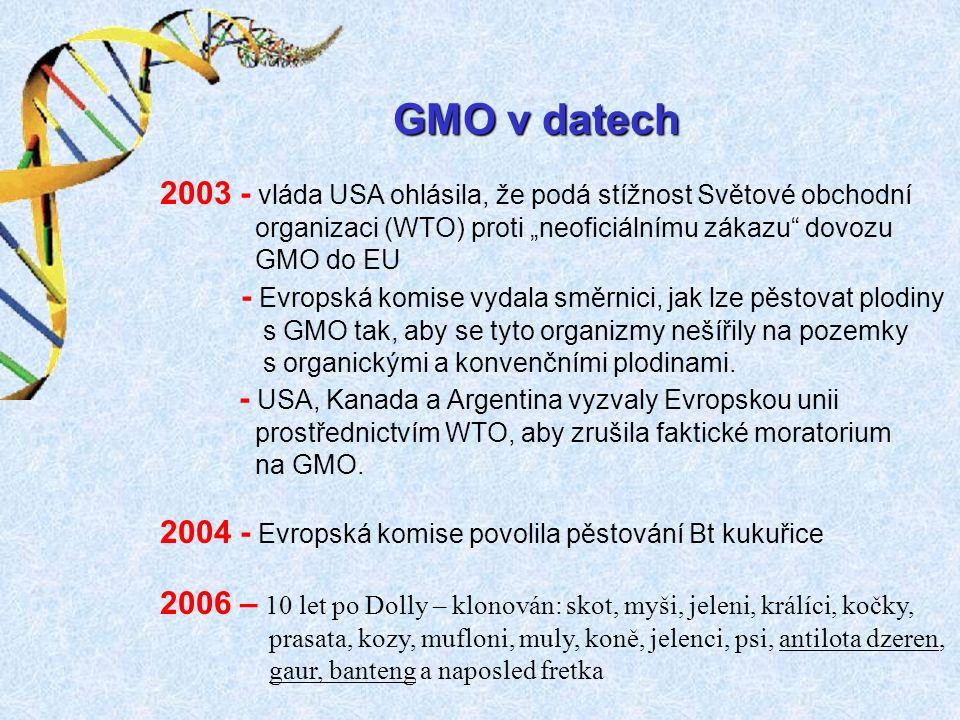 """2003 - vláda USA ohlásila, že podá stížnost Světové obchodní organizaci (WTO) proti """"neoficiálnímu zákazu dovozu GMO do EU - Evropská komise vydala směrnici, jak lze pěstovat plodiny s GMO tak, aby se tyto organizmy nešířily na pozemky s organickými a konvenčními plodinami."""