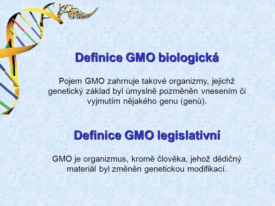 Definice GMO biologická Pojem GMO zahrnuje takové organizmy, jejichž genetický základ byl úmyslně pozměněn vnesením či vyjmutím nějakého genu (genů).
