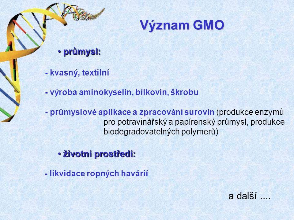 - průmyslové aplikace a zpracování surovin (produkce enzymů pro potravinářský a papírenský průmysl, produkce biodegradovatelných polymerů) - kvasný, textilní - výroba aminokyselin, bílkovin, škrobu - likvidace ropných havárií a další....